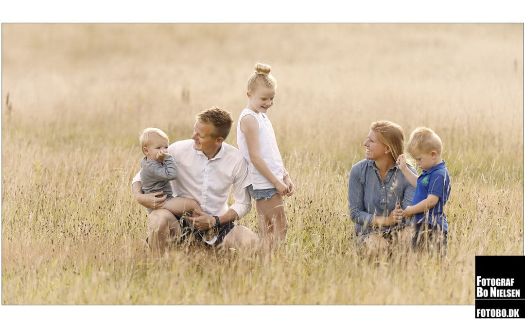 Familie fotografering on location i mark, fotograferet af Fotograf Bo Nielsen